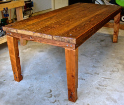 dining room table of reclaimed wood and railroad artifacts