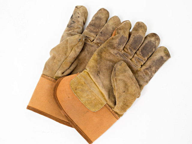 used gloves for handling ceramics and raku and hot metal
