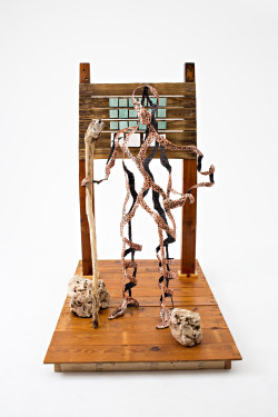 life-size sculpture copper and wood and ceramic